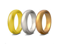 Set of 3 Unisex Rings (Silver, Gold, Bronze and Gold, GunMetal, Bronze) -size 12 - Product Image