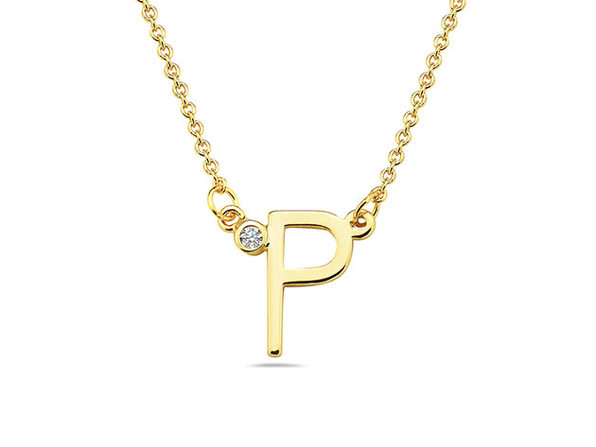 18K Gold Plated CZ Initial Necklaces - P - Product Image