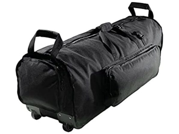 "Kaces KPHD46W 46"" Rolling Hardware Reinforced Polyester Bag with Wheels - Black"