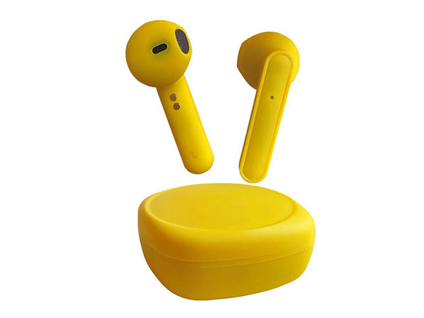 Rubberized Wireless Earbuds + Charging Case (Citrine)