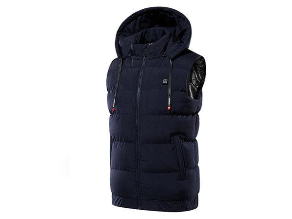 Thermal Waterproof Heated Hooded Vest (3XL/Dark Blue)