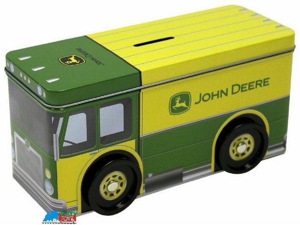 John Deere Bus Shaped Tin Coin Bank