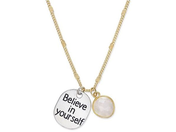 "Inspired Life Gold-Tone ""Believe in Yourself"" Disc and Stone Charm Pendant Necklace"