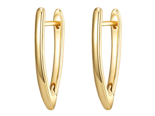 Plain Curved Huggie Earrings (Gold)