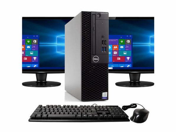 """Dell Optiplex 3050 Desktop PC, 3.2GHz Intel i5 Quad Core Gen 7, 16GB RAM, 1TB SSD, Windows 10 Professional 64 bit, Dual (2) NEW 24"""" Screens Screen (Renewed)"""