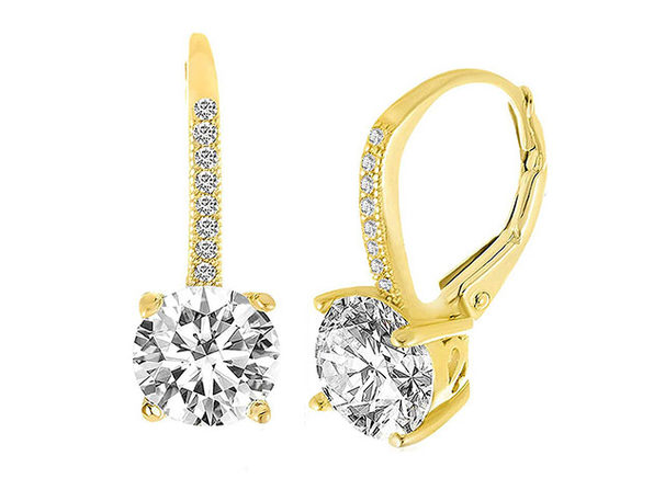 Leverback Earrings Made with Swarovski Elements - Gold - Product Image