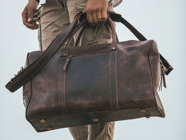 Kodiak Leather Weekender Duffel Bag in Dark Walnut (Size: 30L)