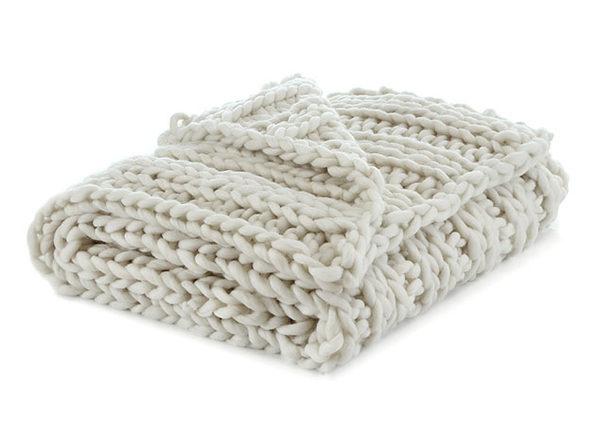 "Cozy Tyme Francine Channel Knit Throw (Cream White/40""x60"")"