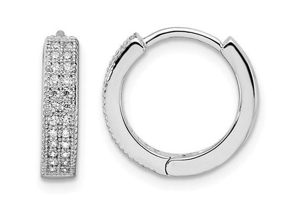 Cubic Zirconia (CZ) (CZ) Hoop Earrings in Sterling Silver
