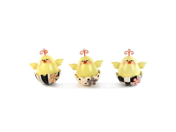 MacKenzie-Childs Chick Ornaments - Set of 3
