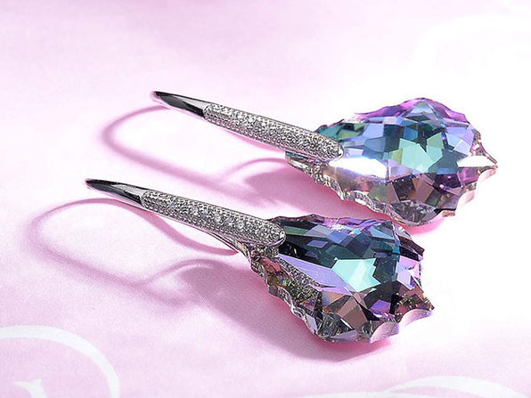 Baroque Drop Earrings with Color Changing Swarovski Crystals
