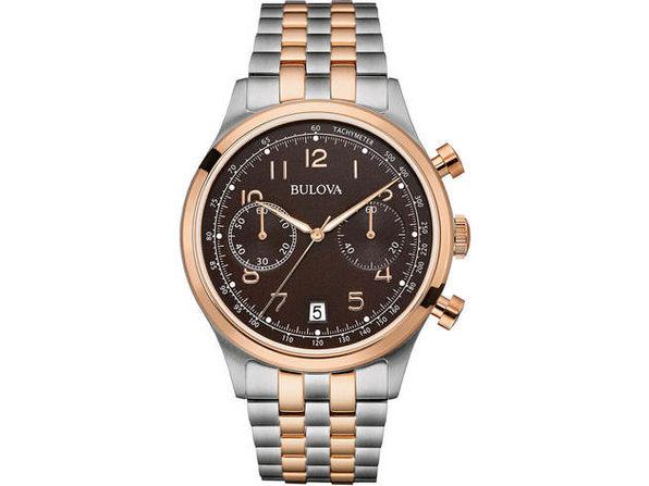 Bulova 98B248 Mens Silver & Rose Gold Finish Chronograph Watch - Product Image