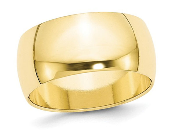 Mens 10K Yellow Gold Solid Polished 10mm Wedding Band - 10