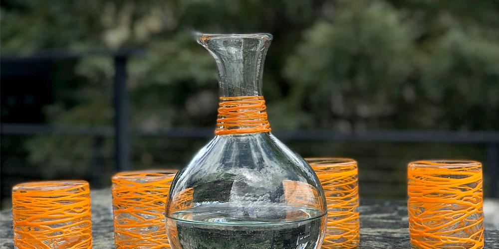 A glass carafe.