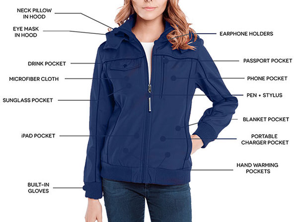 BauBax Women's Bomber Jacket (Blue/Medium)