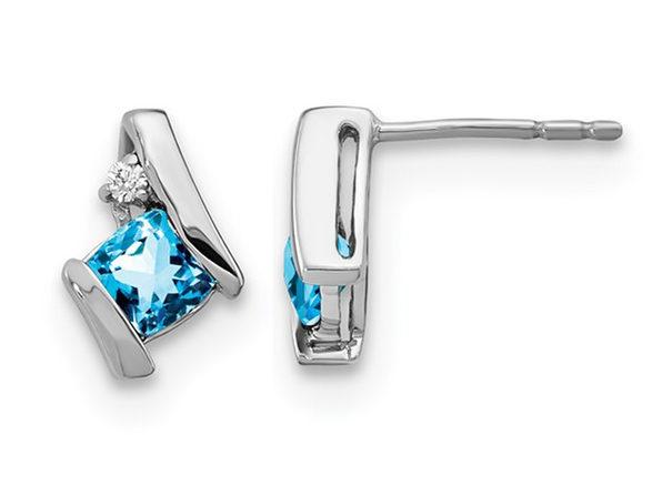 3/5 Carat (ctw) Blue Topaz Stud Earrings in 10K White Gold