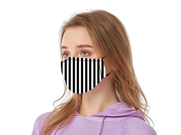 Reusable Ear Loop Face Mask 4-Pack Black & White Stripes - Product Image