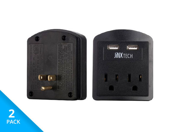 JinxTech 2-Outlet Surge Protector with Dual USB (Black)
