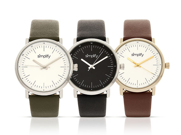Simplify 6200 Series Leather Strap Watch