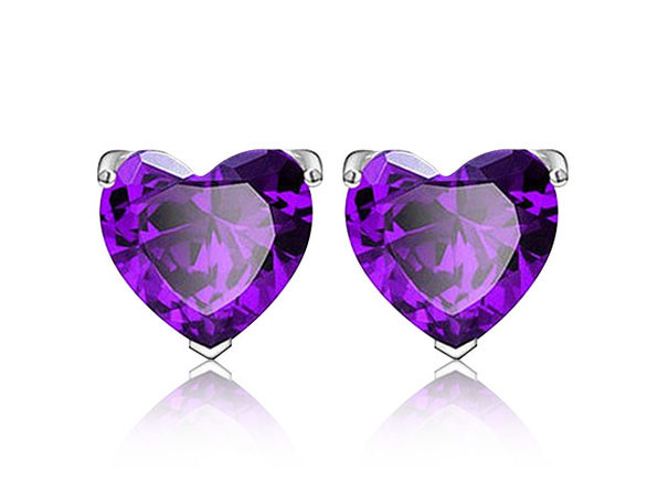 Sterling Silver Heart Shaped Studs	Purple - Product Image