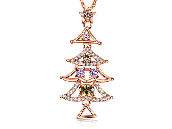 Tall Christmas Tree Necklace Ft. Rainbow Swarovski Elements (Rose Gold)