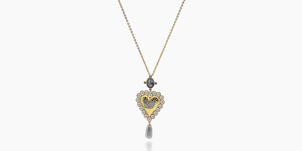 Swarovski Vintage Swan Goldtone Dark Multicolored Crystal Necklace