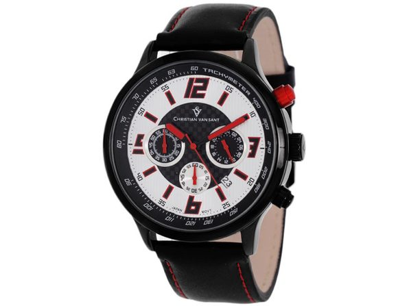 Christian Van Sant Men's Speedway Silver/Red Dial Watch - CV3122