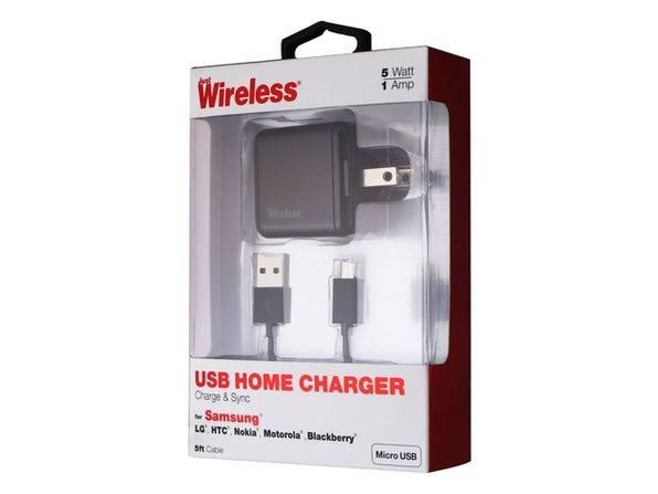 Samsung USB Home Charger With Five Foot Micro USB Cable, Can Also Be Used For Data Transfer From One Device To Another, Black (New Open Box)