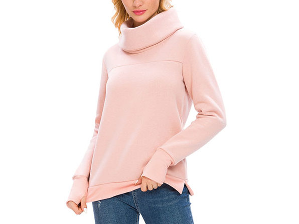 Pink Solid Long Sleeve Cowl Neck Pullover with Back Pleat