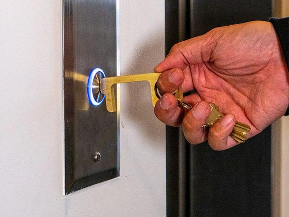 Hygiene Hand: Antimicrobial Brass Door Opener & Stylus (4-Pack)