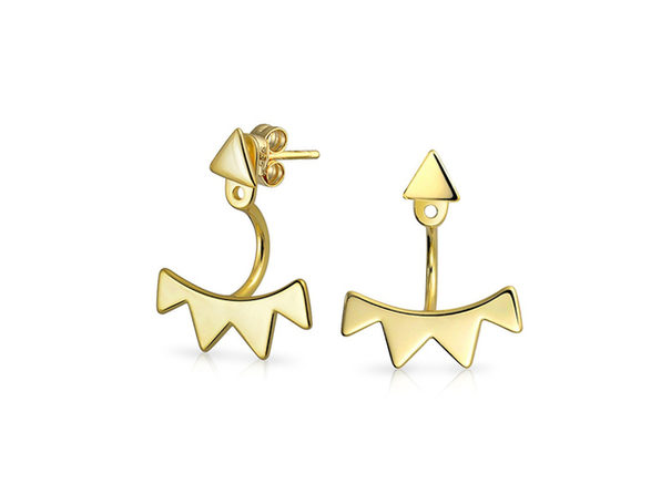 Homvare Women's 925 Sterling Silver Triangle Fringe Ear Jacket Earrings - Gold