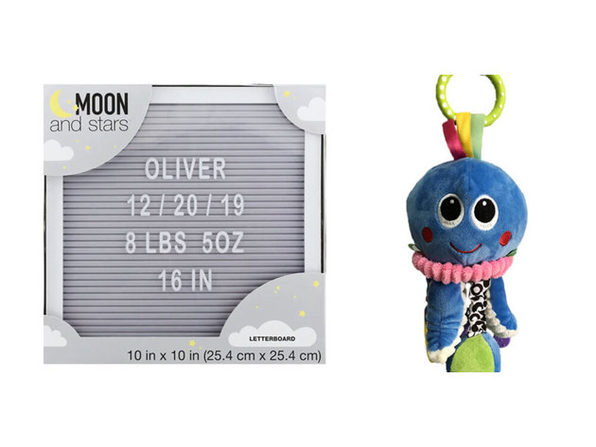 Moon and Stars 10 Inches X 10 Inches Letter Board with Changeable Letters White Frame, Gray - Product Image