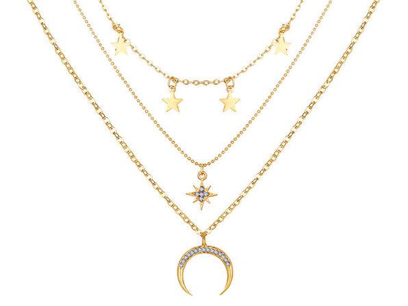 3-Piece Celestial Drop Necklace with Swarovski Crystals