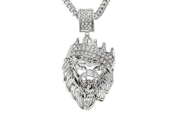 14K White Gold Plated Iced Out Lion Pendant Necklace
