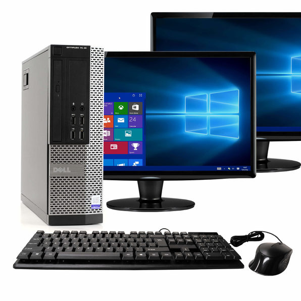 "Dell OptiPlex 7020 Desktop PC, 3.2GHz Intel i5 Dual Core Gen 4, 16GB RAM, 512GB SSD, Windows 10 Home 64 bit, Dual (2) 22"" Screens Screen (Renewed)"