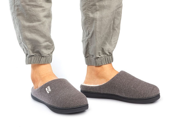 Men's Original Two-Tone Memory Foam Slippers (Gray/Natural, Size 10.5)
