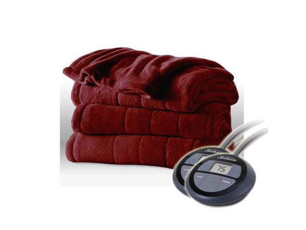 Sunbeam Channeled MicroPlush Electric Heated Blanket - King Garnet