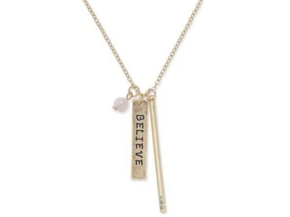 "Inspired Life Gold-tone ""Believe"" Charm Pendant Necklace"