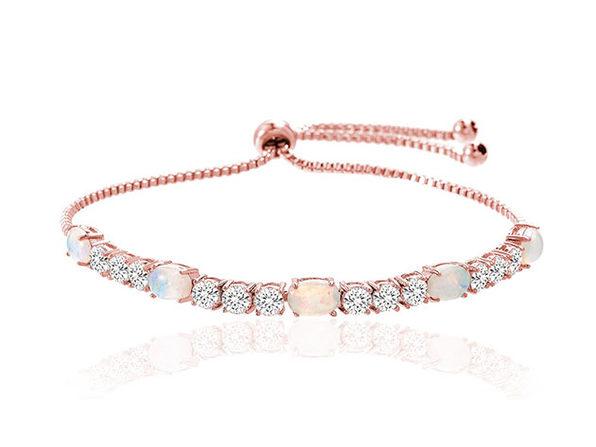 Adjustable Tennis Bracelet Ft. Fiery Opal & Swarovski Elements ...