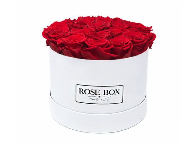 Medium White Boxes with Roses,