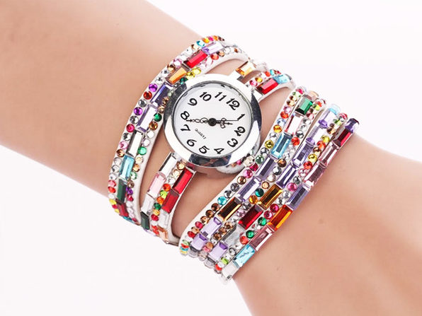 Jeweled Leather Bracelet Watch (White)