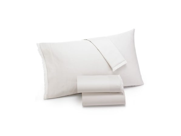 Lucky Brand Fringe 230 Thread Count Pair of 40 Inches x 20 Inches Pillowcases, King Size, Ivory