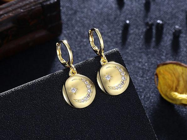 18K Gold Plated Moon & Star Drop Earrings