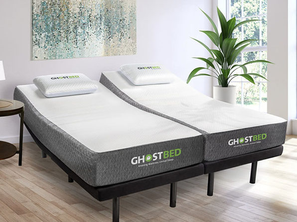 "GhostBed® 11"" Memory Foam Cooling Mattress (Split King) + Adjustable Base"