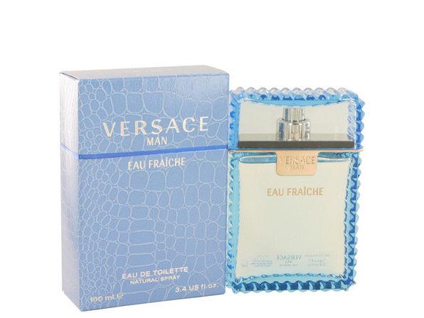 3 Pack Versace Man by Versace Eau Fraiche Eau De Toilette Spray (Blue) 3.4 oz for Men