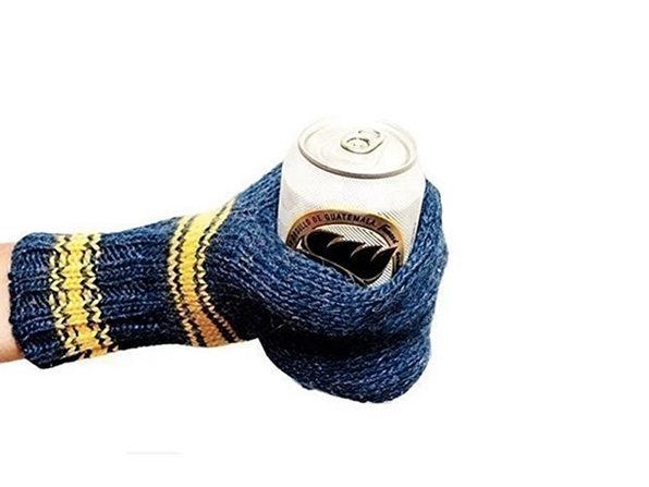 Premium Knit Beer Mitt - BLUE - Product Image