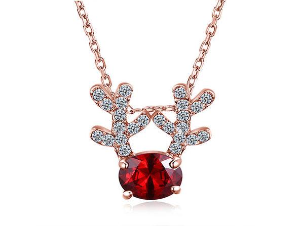 Red Swarovski Pav'e Reindeer Pendant Necklace (Rose Gold)