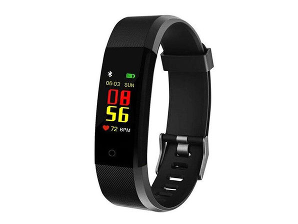 Waterproof Fitness Tracker With HR & BP Monitor - Black - Product Image