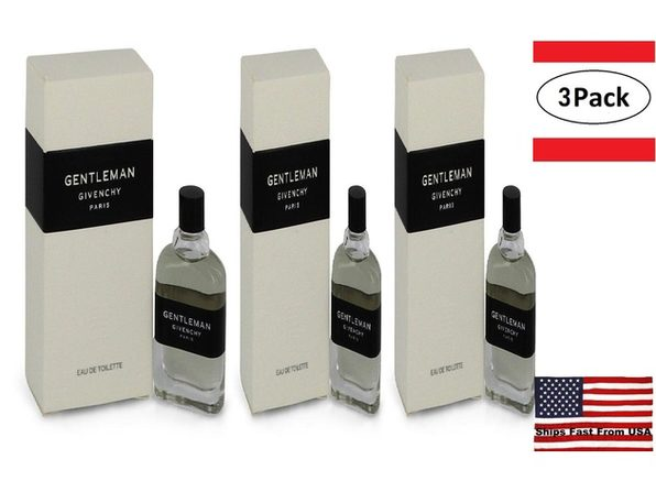 3 Pack GENTLEMAN by Givenchy Mini EDT .20 oz for Men