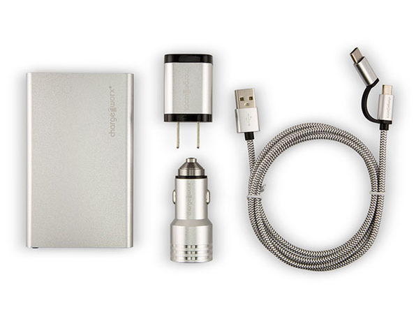 Metallic Complete Charging Collection + Micro USB & USB-C Cables (Silver)